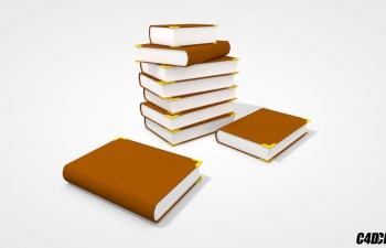 C4D模型 一摞厚厚的书本