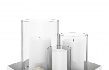 C4D模型 玻璃容器蜡烛台组合模型