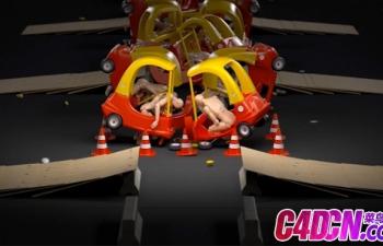 卡通小汽车碰撞小人动力学模拟循环动画C4D教程