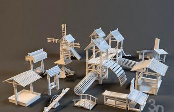 3D模型23木屋风车跷跷板木质玩具装饰
