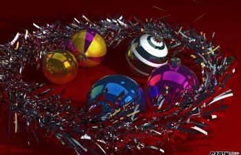 C4D圣诞节铃铛节日亮晶晶装饰品模型