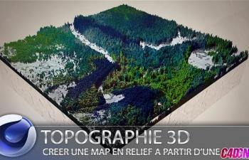 C4D法语教程 毛发工具创建地形生态效果 [C4D] [FR] Topographie 3D - Créer une Map en relief à partir d'une image 2D