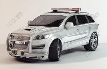 C4D模型 警车SUV汽车改装车奥迪汽车模型