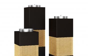 C4D模型 黑色简约方形竹藤外壳蜡烛台模型