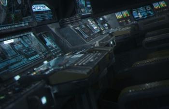 C4D地球太空站飛船操控室