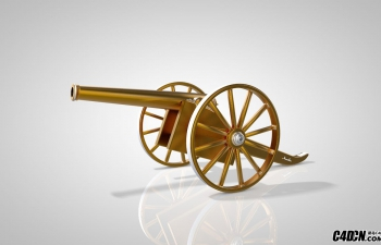 C4D黄金材质礼炮模型