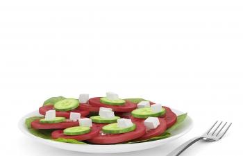 C4D模型 番茄西红柿片黄瓜片豆腐青菜叶叉子食物餐具模型