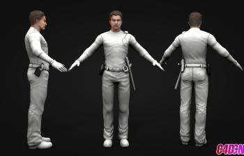 带警棍的青年男子男人C4D模型