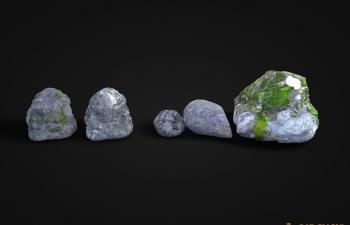 五块写实C4D石头模型