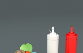 餐具水果盤銀質勺子叉子番茄醬包裝瓶茶杯C4D模型