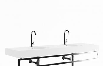 C4D模型 双人金属出水阀洗手盆模型