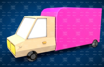 Low Poly卡通低面模廂式貨車建模C4D教程