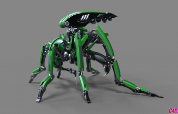 C4D高级机械蚊子机器人建模布线xpresso节点绑定骨骼联动动画C4D教程(含工程)