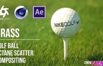 Octane渲染器草坪上面的高爾夫球寫實場景渲染AE合成C4D教程