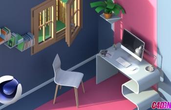 C4D教程:使用RedShift渲染器制作小场景