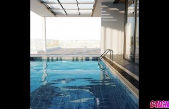 Corona渲染器游泳池环境材质渲染C4D教程