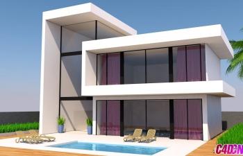 C4D教程 二层玻璃大落地窗室外建筑建模教程