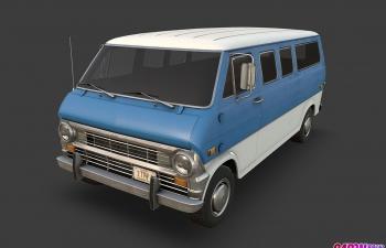 老式美国福特厢式货车运输汽车C4D模型 ford econoline 1970