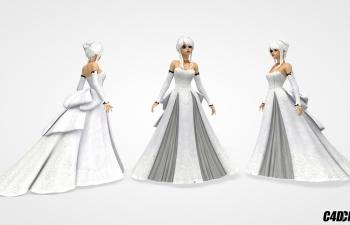 C4D模型 穿晚礼服公主裙的可爱女孩模型