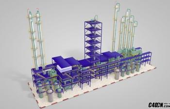 C4D工业设备化工厂整体模型