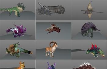 C4D模型 13套卡通角色动画绑定怪物模型合集