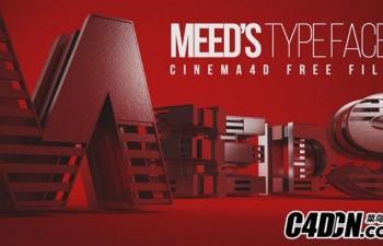 C4D预设 26个字母文字设计造型预设 Meed's Typeface