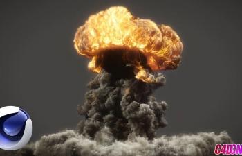 C4D TurbulenceFD流体插件制作蘑菇云爆炸烟雾烟火教程