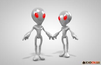 C4D红眼Q版外星人模型 Q version of the red-eye aliens model