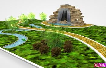 C4D景观模型 公园小路 雕塑