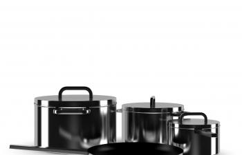 C4D模型 不锈钢材质煮饭锅平底锅锅具炒菜锅
