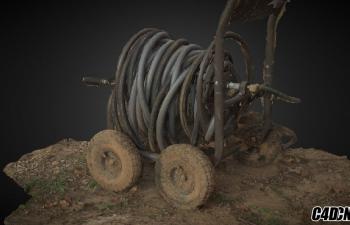 C4D模型 破旧的水管管道车模型 RAW Scan - An old Water Hose Reel Cart