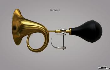 CINEMA 4D教程——硬表面建模锻炼自行车喇叭造型与渲染
