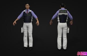 戴眼镜的青年男子警察C4D模型