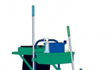 C4D模型 清洁工具套装拖把塑胶手套水桶清洁车模型