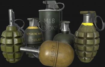 6个战争武器投掷手雷烟雾弹手持武器模型