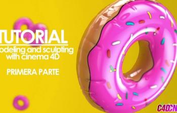 充气气球甜甜圈造型雕刻建模C4D教程 Tutorial Dona Inflable