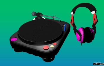DJ设备和耳机C4D模型