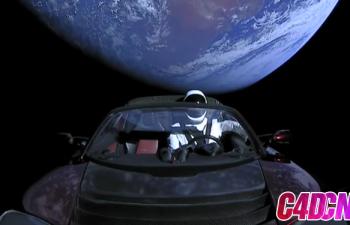 特斯拉汽车和宇航员C4D模型