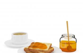 C4D模型 黄油面包咖啡早点早餐模型