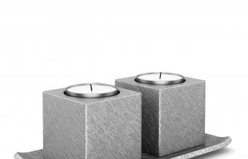 C4D模型 银色金属拉丝立方体蜡烛台模型