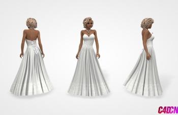 C4D模型 长裙短发美女女性模型 裙子 连衣裙 礼服
