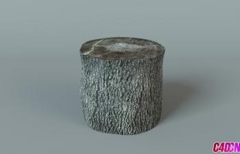 C4D写实木头树干树皮纹理贴图材质渲染C4D教程