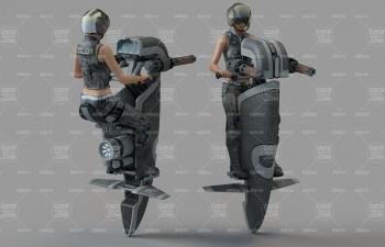 未來騎飛行摩托的女戰士C4D模型