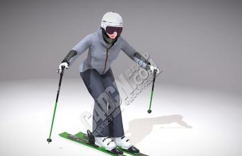 C4D滑雪的女人模型(包含骨骼绑定和动画) Skiing Lady