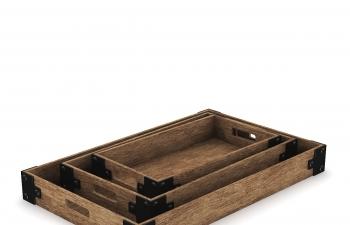 C4D模型 方形木头材质抽屉储物盒模型