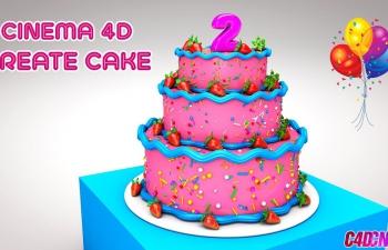 C4D教程 草莓多层生日蛋糕建模渲染教程