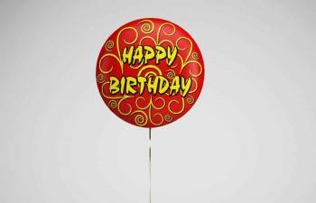 生日快乐气球礼物盒C4D模型