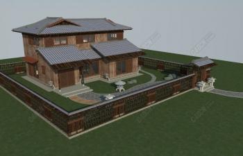 C4D禅道木屋建筑模型