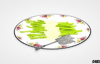 C4D模型 一盘蔬菜食品模型