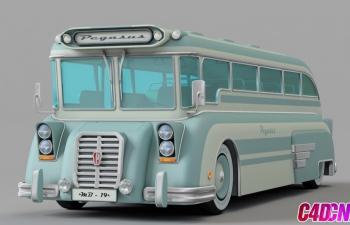 复古巴士公交车C4D模型
